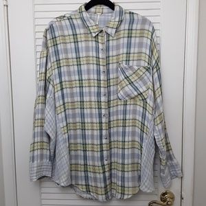Free People One Of The Guys Plaid Shirt Top